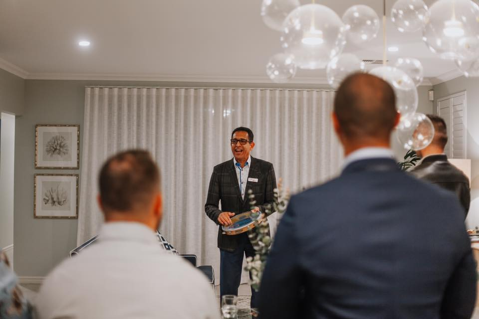 Jorge Barbosa speaking at Move Homes' Brazilian Night at our display home within Landsdale's Crest estate