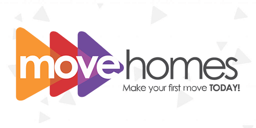 Move Homes' logo with grey triangle pattern in background