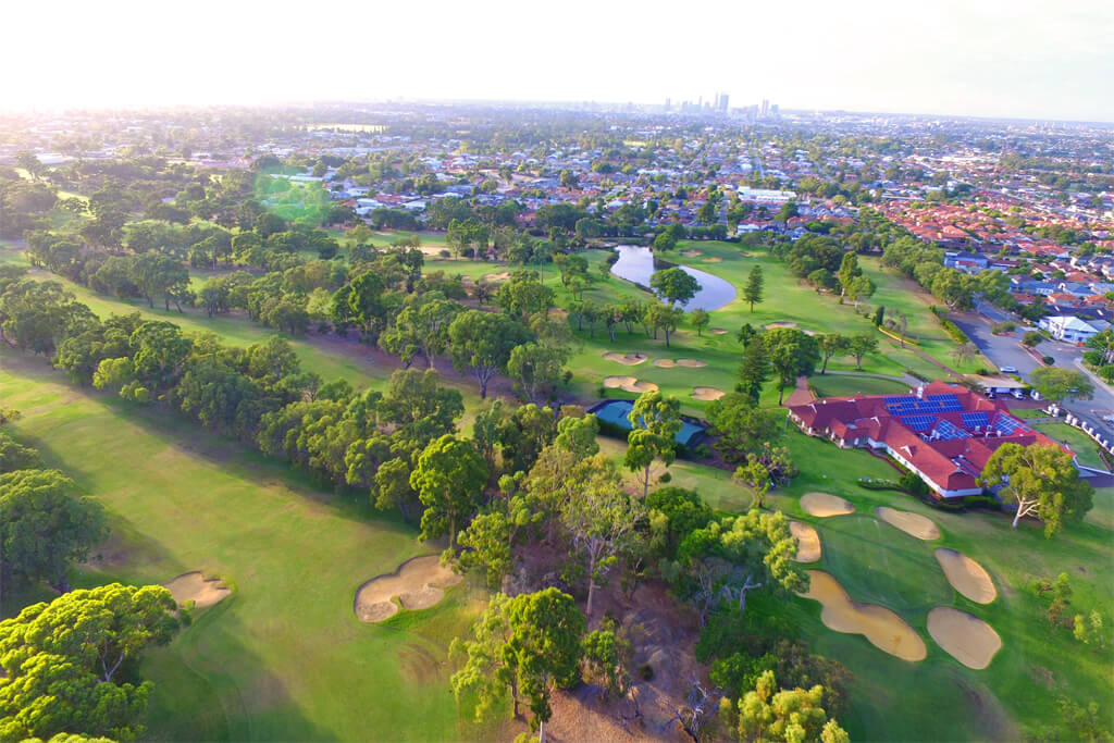 Aerial view of the WA Golf Course in Yokine, minutes from Move Homes' available house and land packages in Piara Waters
