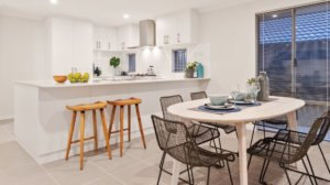 Open living plan area of display home in the Crest at Landsdale by Move Homes