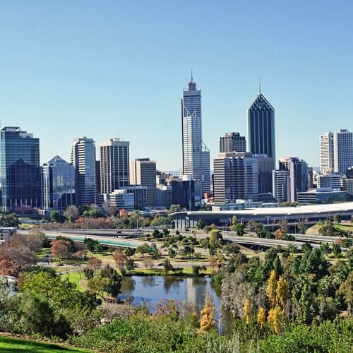 Overview of Perth city