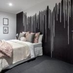 Wallpaper in master bedroom at Move Homes' The Innovator Display at Rosehill Waters