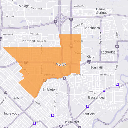 Branded map for Morley where Move Homes has house and land packages for Perth home builders and first time buyers