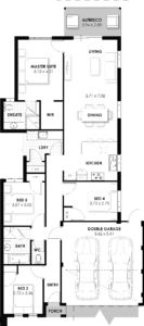 Floorplan for The Cebu, a Move Homes new home design perfect for first time buyers and new builders in Perth