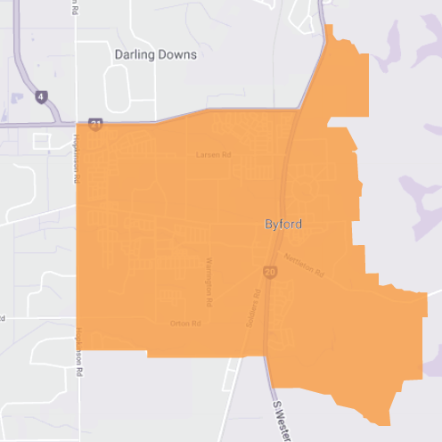 Branded map for Byford where Move Homes has house and land packages for Perth home builders and first time buyers