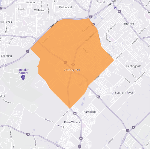 Branded map for Canning Vale where Move Homes has house and land packages in Perth for home builders and first time buyers