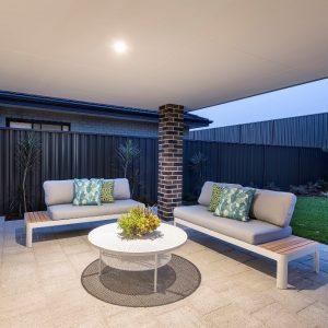 Backyard lighting in Move Homes display