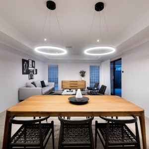 Pendant lights in Move Homes display