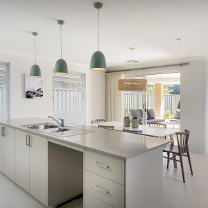 Kitchen with island bench and pendant lights
