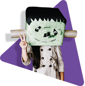 Branded image of person dressed as Frankenstein by Move Homes