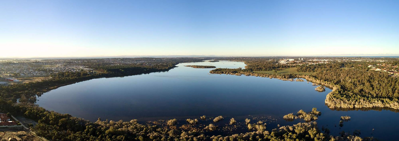 Aerial photo of lake next to Myella Estate in Wanneroo