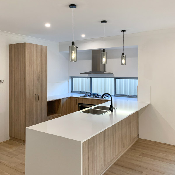Calcite stone bench tops in a Move Homes for a first home buyer