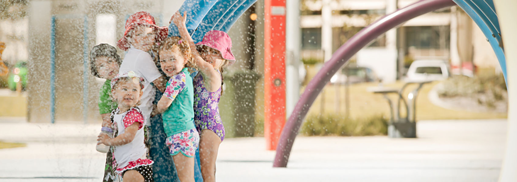Rainbow Waters is a free water park in Ellenbrook in Perth's northern suburbs