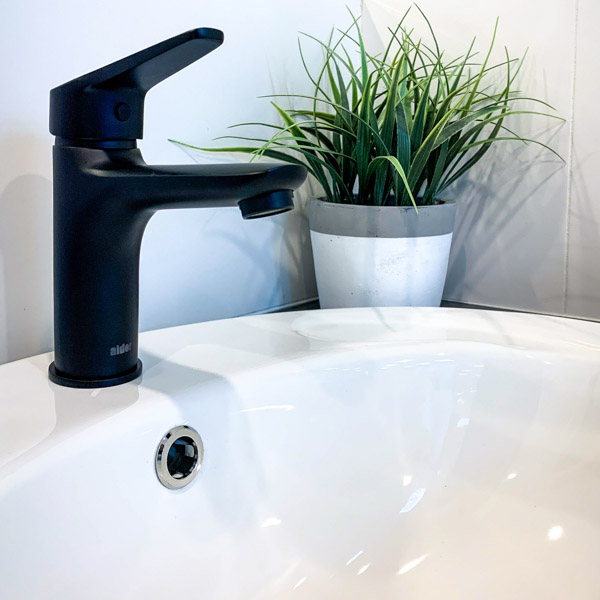 new matte faucet with white sink