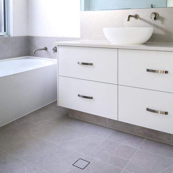 square tile drain bathroom upgrade
