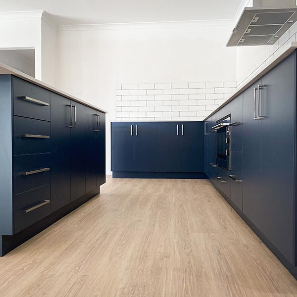 Blue kitchen cabinetry in a new home built across Perth by Move Homesthat is the Blue Char